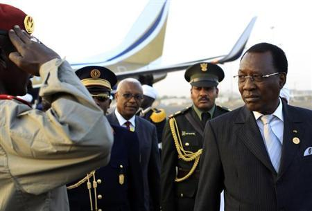 Chad President Idriss Deby arrives at Khartoum Airport on an official visit